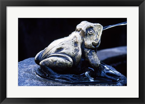 Framed Canada, British Columbia,  Butchart Gardens, sculpture frog, fountain Print