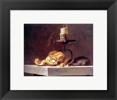 Framed Willem Van Aelst  Still Life with Mouse and Candle Print