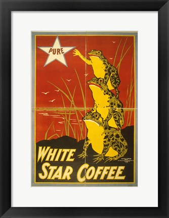 Framed White Star Coffee Frogs Print