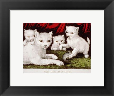 Framed Three Little White Kitties Print