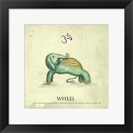 Framed Elephant Yoga, Wheel Pose Print