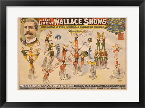 Framed Colossal Three Ring Circus Print
