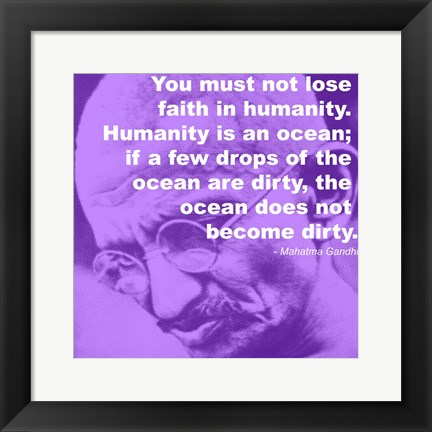 Framed Gandhi - Ocean Quote Print