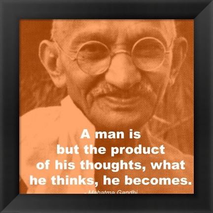 Framed Gandhi - Thoughts Quote Print