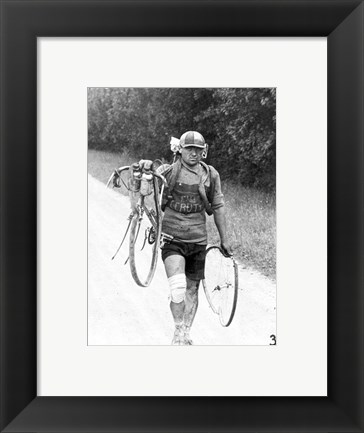 Framed Italian Giusto Cerutti has a broken wheel after a fall. Tour de France 1928 Print