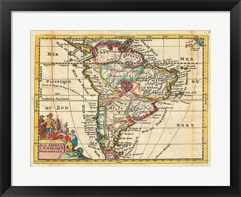 Framed 1747 La Feuille Map of South America Print