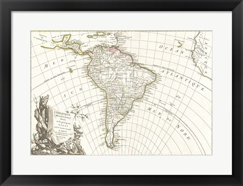 Framed 1762 Janvier Map of South America Print