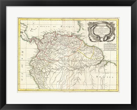 Framed 1771 Bonne Map of Tierra Firma Print