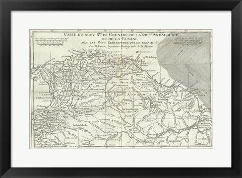 Framed 1780 Bonne Map of Northern South America, Columbia, Venezuela, Brazil Print