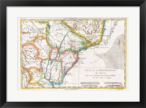 Framed 1780 Raynal and Bonne Map of South America Print