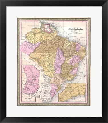 Framed 1850 Mitchell Map of Brazil, -1849 Print