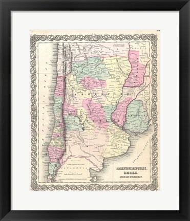 Framed 1855 Colton Map of Argentina, Chile, Paraguay and Uruguay Print