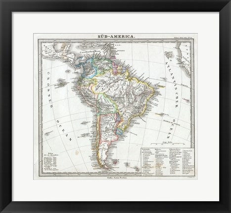 Framed 1862 Perthes map of South America Print
