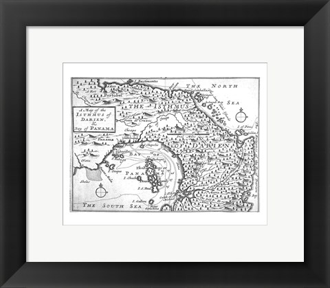 Framed Map of the Isthmus of Darien and Panama Print