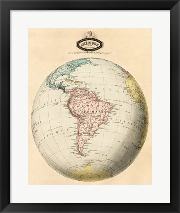 Framed Map of South America Print