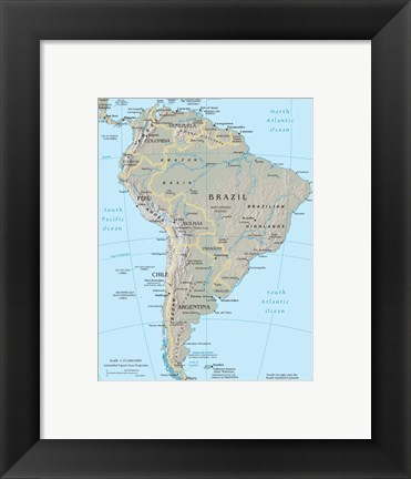 Framed South America Print