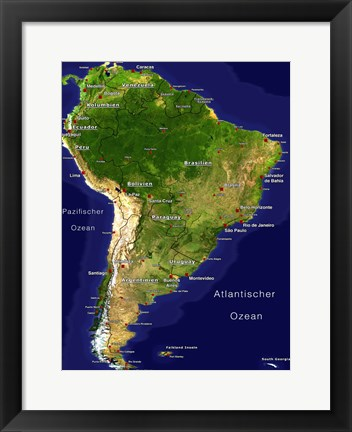 Framed South America - Satellite Orthographic Political Map Print