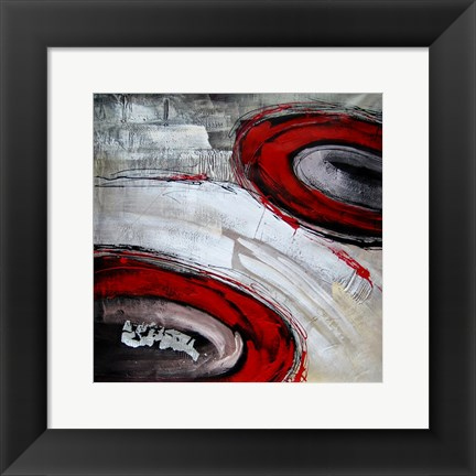 Framed Abstract Circles I - red Print