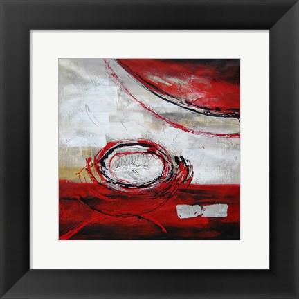 Framed Abstract Circles II - red Print
