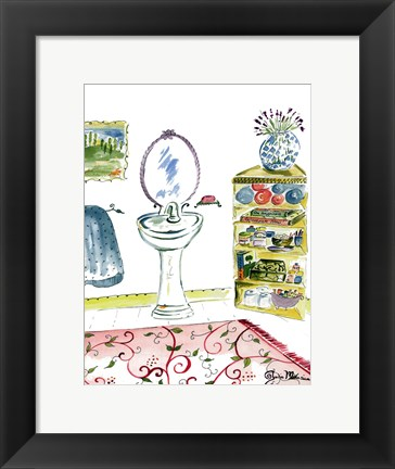 Framed Girl Bathroom II Print