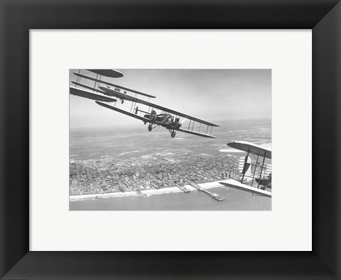 Framed U.S. Army Air Corps Curtiss B-2 Condor bombers flying over Atlantic City Print