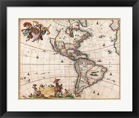 Framed 1658 Visscher Map of North America and South America Print
