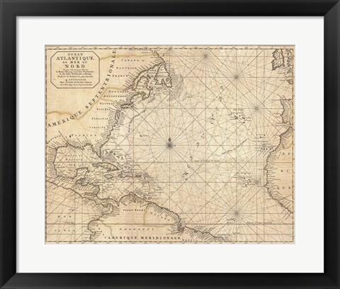 Framed 1683 Mortier Map of North America, the West Indies, and the Atlantic Ocean Print