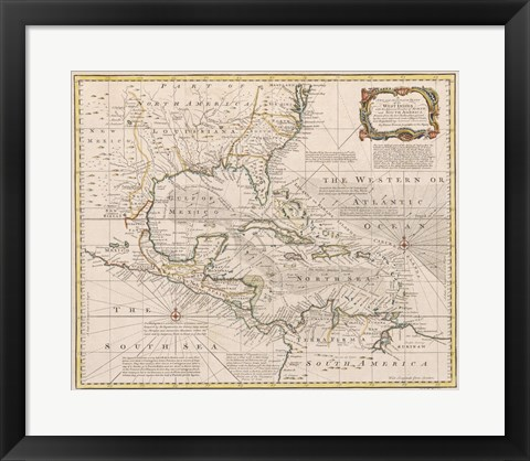 Framed 1720 Map of the West Indies Print