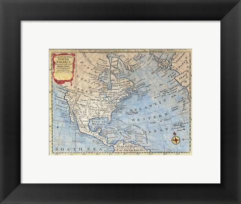 Framed 1747 Bowen Map of North America Print