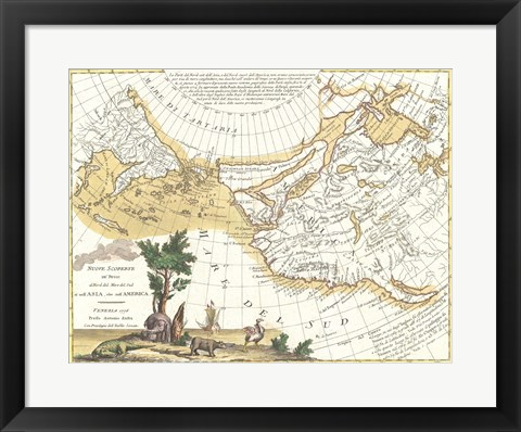 Framed 1776 Zatta Map of California and the Western Parts of North America Print