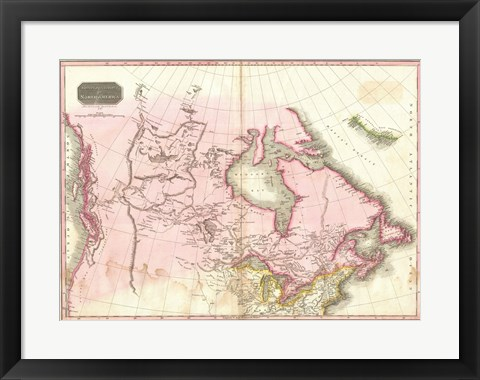 Framed 1818 Pinkerton Map of British North America Print