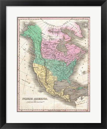 Framed 1827 Finley Map of North America Print