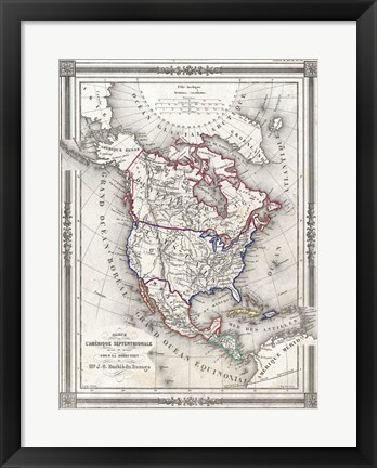Framed 1852 Bocage Map of North America Print