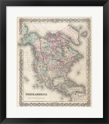 Framed 1855 Colton Map of North America Print