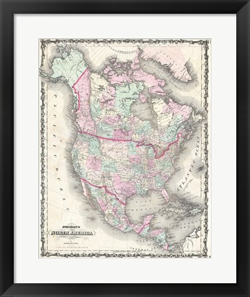 Framed 1862 Johnson Map of North America Print