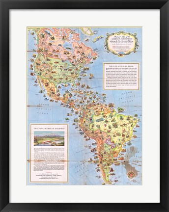 Framed 1930 Pictorial Map of North America and South America Print