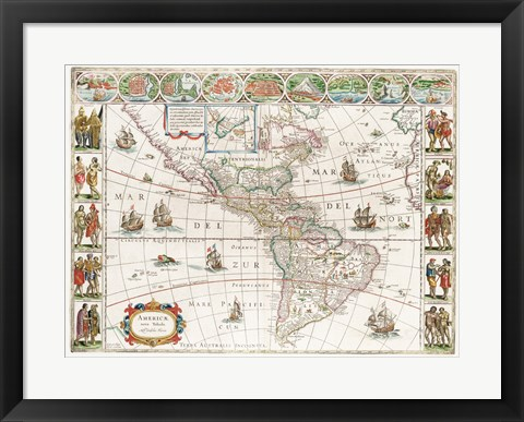 Framed Americae nova Tabula - Map of North and South America Print