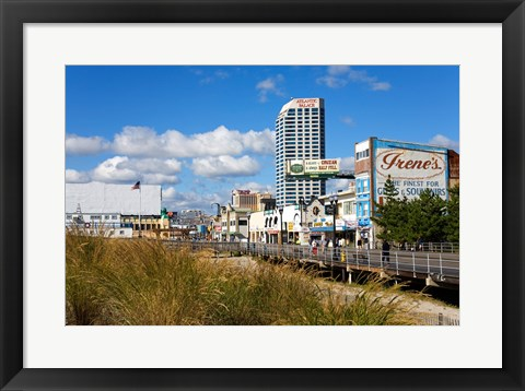 Framed Boardwalk Stores, Atlantic City, New Jersey, USA Print