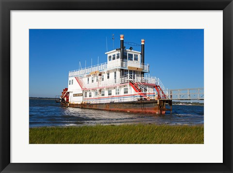 Framed Paddle Steamer on Lakes Bay, Atlantic City, New Jersey, USA Print