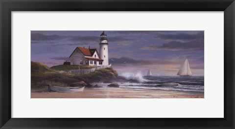 Framed Lighthouse at Dusk Print