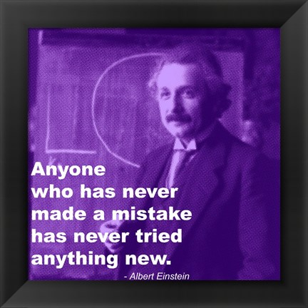 Framed Einstein Try Something New Quote Print