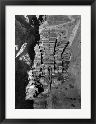 Framed Dam structure as seen from skip on 150-ton cableway. View is made on center line of structure from elevation 1000 Print