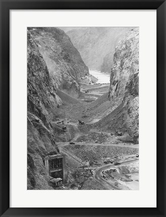 Framed Looking upstream through Black Canyon toward Hoover Dam site showing condition after diversion of Colorado River Print