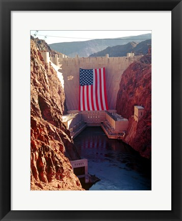 Framed Hoover Dam with large  American flag Print