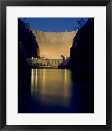 Framed Hoover Dam at night Print