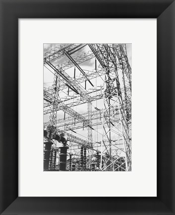 Framed Photograph Looking Up at Wires of the Boulder Dam Power Units, 1941 Print