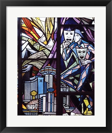 Framed Stained glass window in the Guardian Angel Cathedral, Las Vegas, Nevada Print