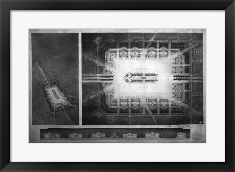 Framed Proposed drawing for Independence Square, Washington Memorial II Print