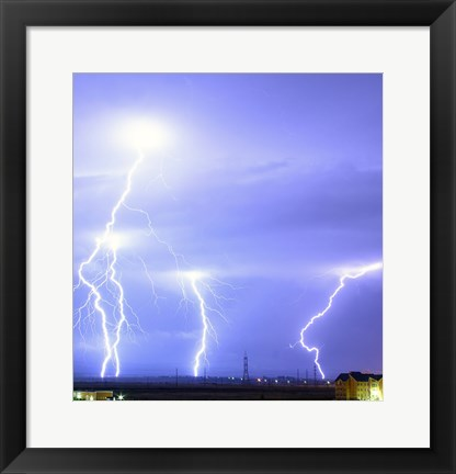 Framed Lightning over Oradea Romania Print