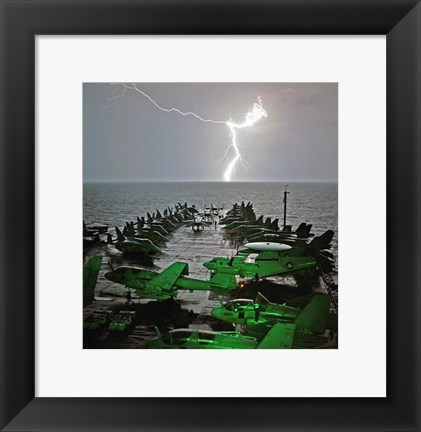 Framed USS Lincoln Lightning Print